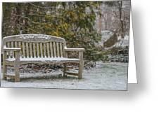 Garden Bench During Winter Snowfall At Sayen Gardens Greeting Card
