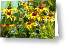 Garden Flowers In Yellow Greeting Card