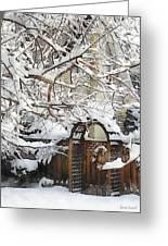Garden Gate In Winter Greeting Card