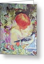 Garden Girl - Antique Collage Greeting Card