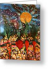 Garden In Moonlight Greeting Card