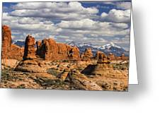 Garden Of Eden And La Sal Mountains Greeting Card