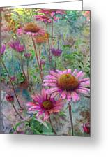 Garden Pink And Abstract Painting Greeting Card