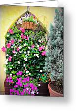 Garden Screen With Flowers Greeting Card