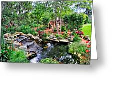 Garden Waterfall And Pond Greeting Card