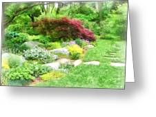 Garden With Japanese Maple Greeting Card
