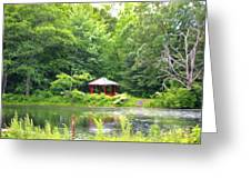 Garden With Pond Greeting Card