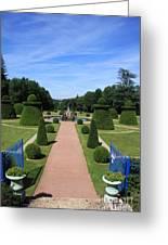 Gardenpath With Blue Gates - Burgundy Greeting Card