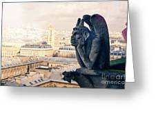 Gargoyle Stryga On The Notre-dame Cathedral In Paris. France. Greeting Card