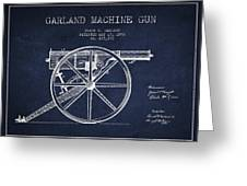 Garland Machine Gun Patent Drawing From 1892 - Navy Blue Greeting Card