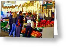 Garlic Festival Farmers Market Food Vendors Onions Garlic Farm Fresh Chef Art Carole Spandau Greeting Card