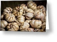 Garlic In A Basket. Greeting Card