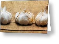 Garlic On Old Barrel Board Greeting Card