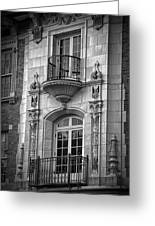 Garrison Hall Window Ut Bw Greeting Card