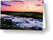 Gaski Waterfall, Grafarlandaa River Greeting Card