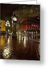 Gastown Steam Clock On A Rainy Night Vertical Greeting Card