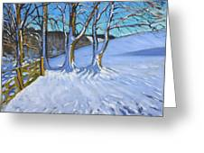 Gate And Trees Winter Dam Lane Derbyshire Greeting Card