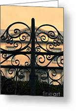 Gate In Front Of Mansion Greeting Card