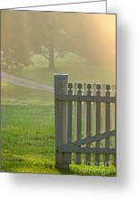 Gate In Morning Fog Greeting Card by Olivier Le Queinec