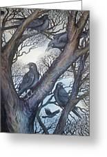 Gathering A Murder Of Crows II Greeting Card by Helen Klebesadel