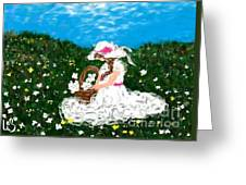Gathering Flowers Greeting Card by LCS Art