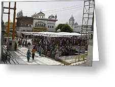 Gathering Inside The Golden Temple In Amritsar Greeting Card