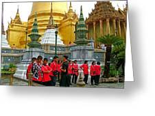 Gathering Near Pagodas Of Grand Palace Of Thailand In Bangkok Greeting Card