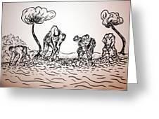 Gathering Potatoes Greeting Card
