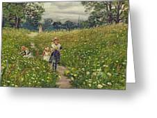 Gathering Wild Flowers  Greeting Card