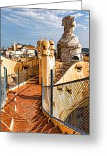 Gaudi Fascinating La Pedrera Rooftop - Impressions Of Barcelona Greeting Card