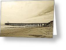 Gaviota Pier In Morning Sepia Tone Greeting Card