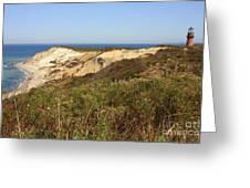 Gay Head Lighthouse With Aquinnah Beach Cliffs Greeting Card