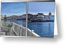 Gazebo 02 Disney World Boardwalk Boat Passing By 2 Panel Greeting Card