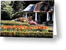 Gazebo And Tulips At Shore Acres Greeting Card