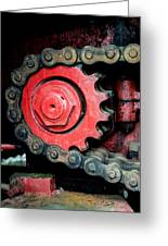 Gear Wheel And Chain Of Old Locomotive Greeting Card by Matthias Hauser