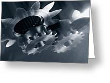 Gears And Cogs Mirrored In Titanium Greeting Card