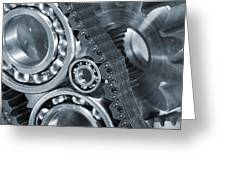 Gears And Cogs Titanium And Steel Power Greeting Card