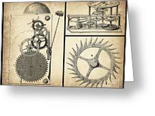 Gears Industrial Or Steampunk Collage Art Greeting Card