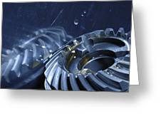 Gears Mirrored In Titanium Greeting Card by Christian Lagereek
