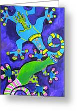 Gecko's Dipped In Paint Greeting Card
