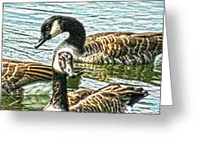 Geese On The Pond II Greeting Card