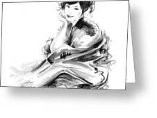 Geisha Geiko Maiko Young Girl Kimono Japanese Japan Woman Sumi-e Original Painting Art Print Greeting Card