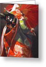 Geisha Girl With Red Umbrella Greeting Card
