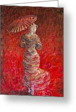 Geisha In Red Greeting Card
