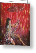 Geisha Rain Warrior Greeting Card