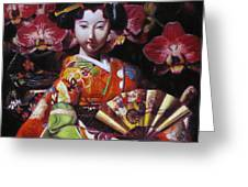 Geisha With Orchids Greeting Card