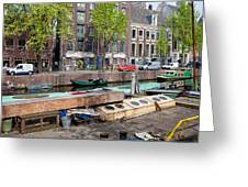 Geldersekade Canal In Amsterdam Greeting Card