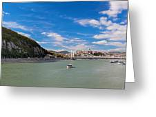 Gellert Hill And Danuber River In Budapest Greeting Card by Michal Bednarek