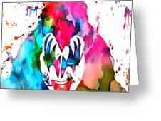 Gene Simmons Paint Splatter Greeting Card