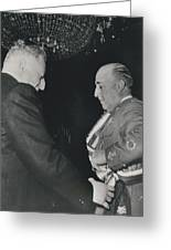 General Franco Decorated. Receives Garsnd Of The Omeyas - Greeting Card